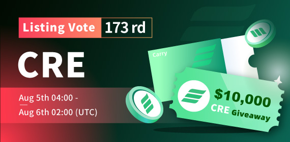 Gate.io Listing Vote #173 - Carry _CRE_ , $10,000 CRE Giveaway