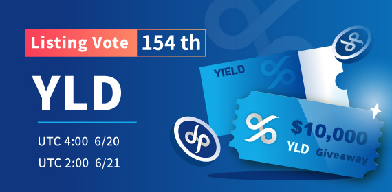 Gate.io Listing Vote #154 -YIELD App (YLD) , $10,000 YLD Giveaway