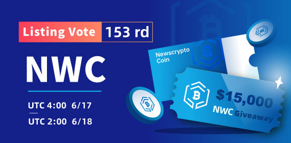 Gate.io Listing Vote #153—Newscrypto Coin (NWC), $15,000 NWC Giveaway